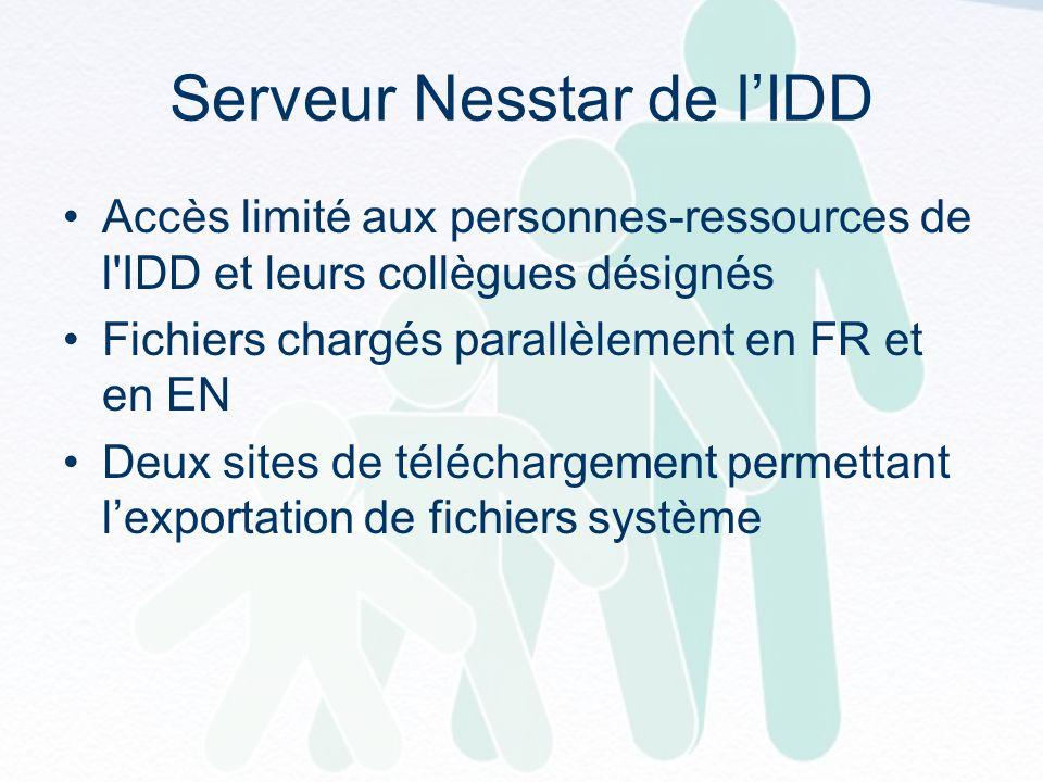Serveur Nesstar de lIDD Accès limité aux personnes-ressources de l IDD et leurs collègues désignés Fichiers chargés parallèlement en FR et en EN Deux sites de téléchargement permettant lexportation de fichiers système