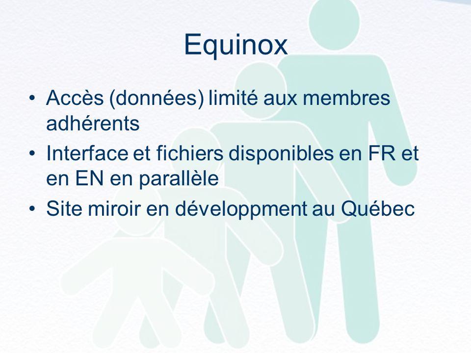 Equinox Accès (données) limité aux membres adhérents Interface et fichiers disponibles en FR et en EN en parallèle Site miroir en développment au Québec
