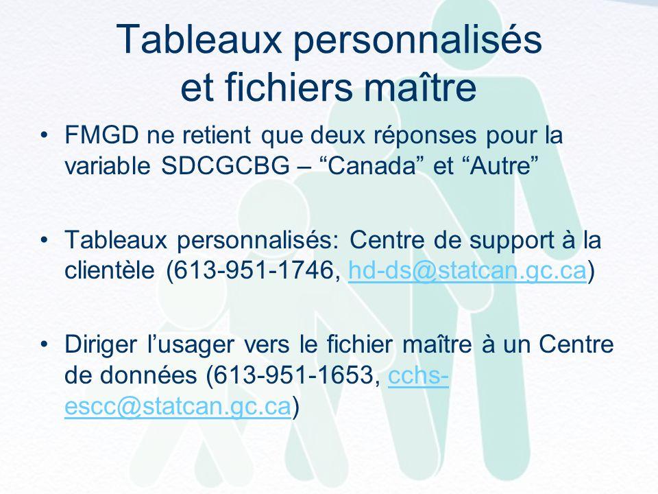 Tableaux personnalisés et fichiers maître FMGD ne retient que deux réponses pour la variable SDCGCBG – Canada et Autre Tableaux personnalisés: Centre de support à la clientèle (613-951-1746, hd-ds@statcan.gc.ca)hd-ds@statcan.gc.ca Diriger lusager vers le fichier maître à un Centre de données (613-951-1653, cchs- escc@statcan.gc.ca)cchs- escc@statcan.gc.ca