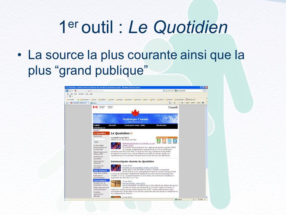 1 er outil : Le Quotidien La source la plus courante ainsi que la plus grand publique