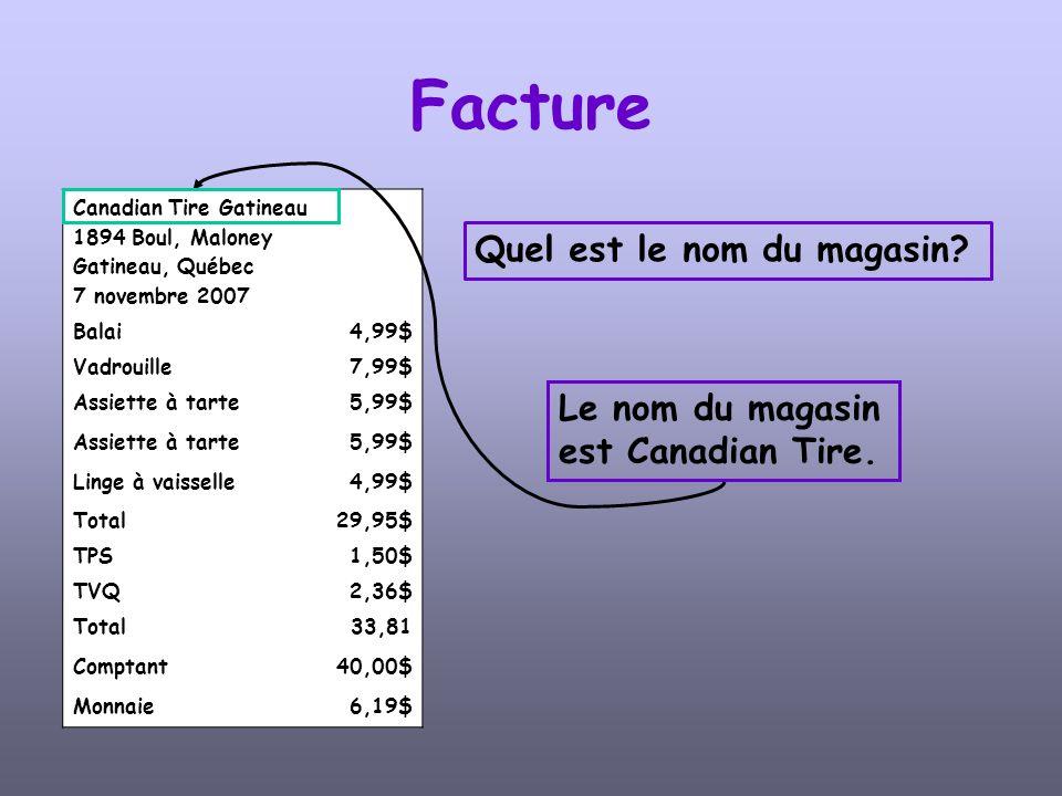 Canadian Tire Gatineau 1894 Boul, Maloney Gatineau, Québec 7 novembre 2007 Balai4,99$ Vadrouille7,99$ Assiette à tarte5,99$ Assiette à tarte5,99$ Linge à vaisselle4,99$ Total29,95$ TPS1,50$ TVQ2,36$ Total33,81 Comptant40,00$ Monnaie6,19$ Facture Quelle est la date dachat.