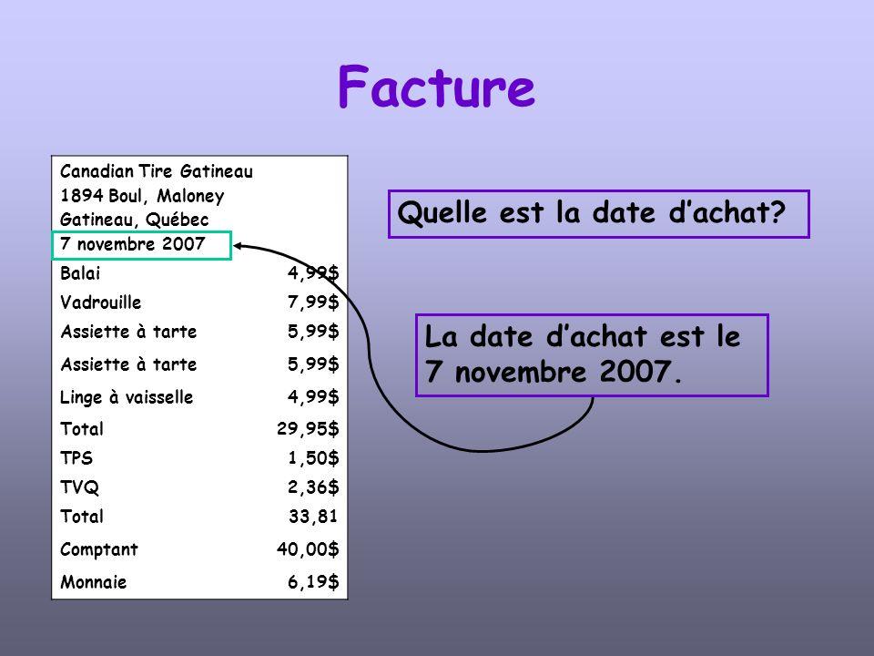 Canadian Tire Gatineau 1894 Boul, Maloney Gatineau, Québec 7 novembre 2007 Balai4,99$ Vadrouille7,99$ Assiette à tarte5,99$ Assiette à tarte5,99$ Linge à vaisselle4,99$ Total29,95$ TPS1,50$ TVQ2,36$ Total33,81 Comptant40,00$ Monnaie6,19$ Facture Quel est le montant total des achats avant les taxes.