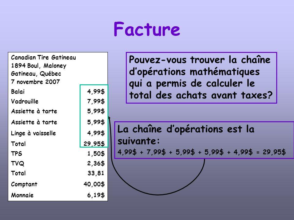 Canadian Tire Gatineau 1894 Boul, Maloney Gatineau, Québec 7 novembre 2007 Balai4,99$ Vadrouille7,99$ Assiette à tarte5,99$ Assiette à tarte5,99$ Linge à vaisselle4,99$ Total29,95$ TPS1,50$ TVQ2,36$ Total33,81 Comptant40,00$ Monnaie6,19$ Facture Quel est le coût de la taxe sur les produits et services.