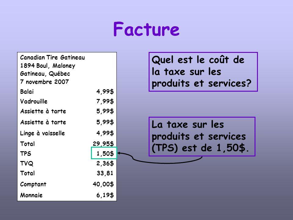 Canadian Tire Gatineau 1894 Boul, Maloney Gatineau, Québec 7 novembre 2007 Balai4,99$ Vadrouille7,99$ Assiette à tarte5,99$ Assiette à tarte5,99$ Linge à vaisselle4,99$ Total29,95$ TPS1,50$ TVQ2,36$ Total33,81 Comptant40,00$ Monnaie6,19$ Facture Pouvez-vous trouver lopération mathématique qui a permis de calculer la taxe sur les produits et services.