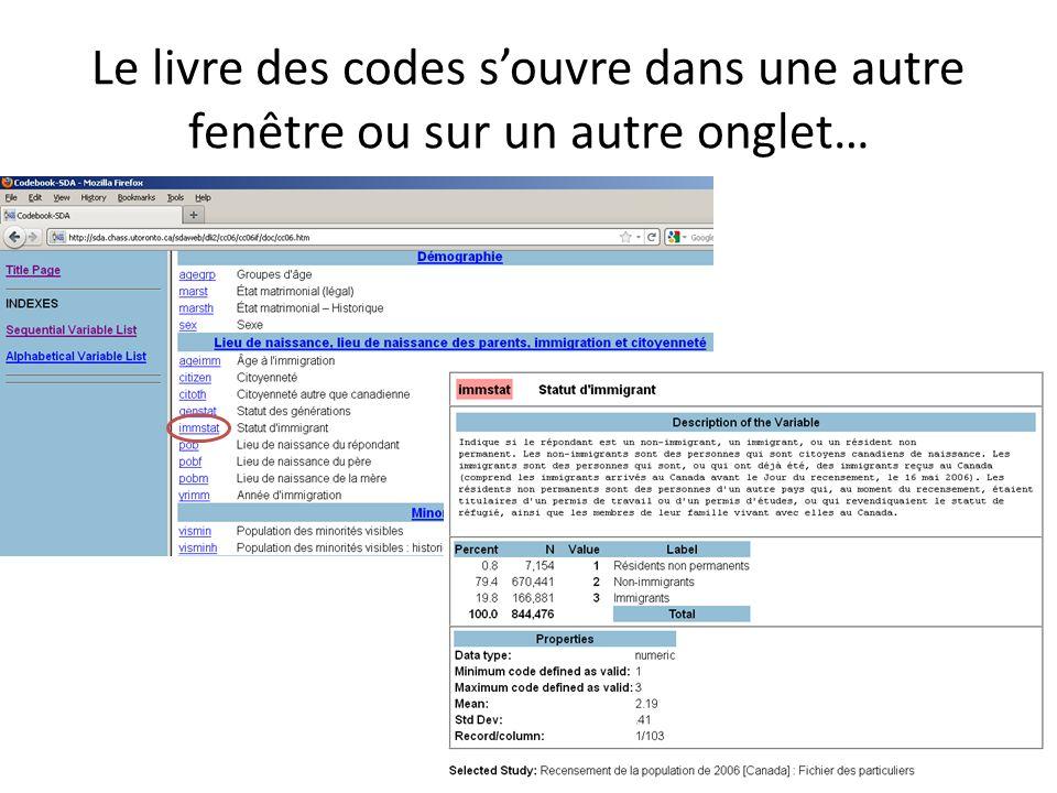 Le livre des codes souvre dans une autre fenêtre ou sur un autre onglet…