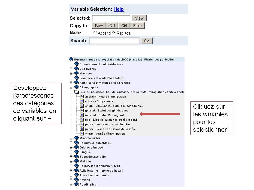 Développez larborescence des catégories de variables en cliquant sur + Cliquez sur les variables pour les sélectionner
