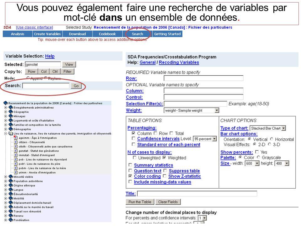 Vous pouvez également faire une recherche de variables par mot-clé dans un ensemble de données.