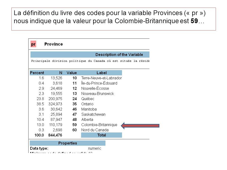 La définition du livre des codes pour la variable Provinces (« pr ») nous indique que la valeur pour la Colombie-Britannique est 59…