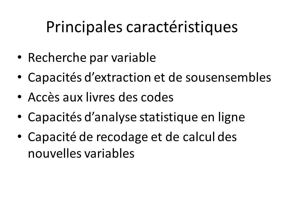 Principales caractéristiques Recherche par variable Capacités dextraction et de sousensembles Accès aux livres des codes Capacités danalyse statistiq