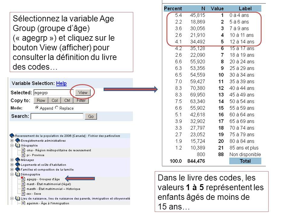 Sélectionnez la variable Age Group (groupe dâge) (« agegrp ») et cliquez sur le bouton View (afficher) pour consulter la définition du livre des codes