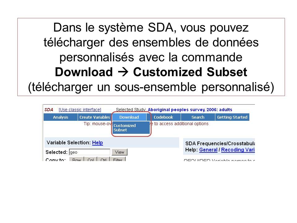 Dans le système SDA, vous pouvez télécharger des ensembles de données personnalisés avec la commande Download Customized Subset (télécharger un sous-e