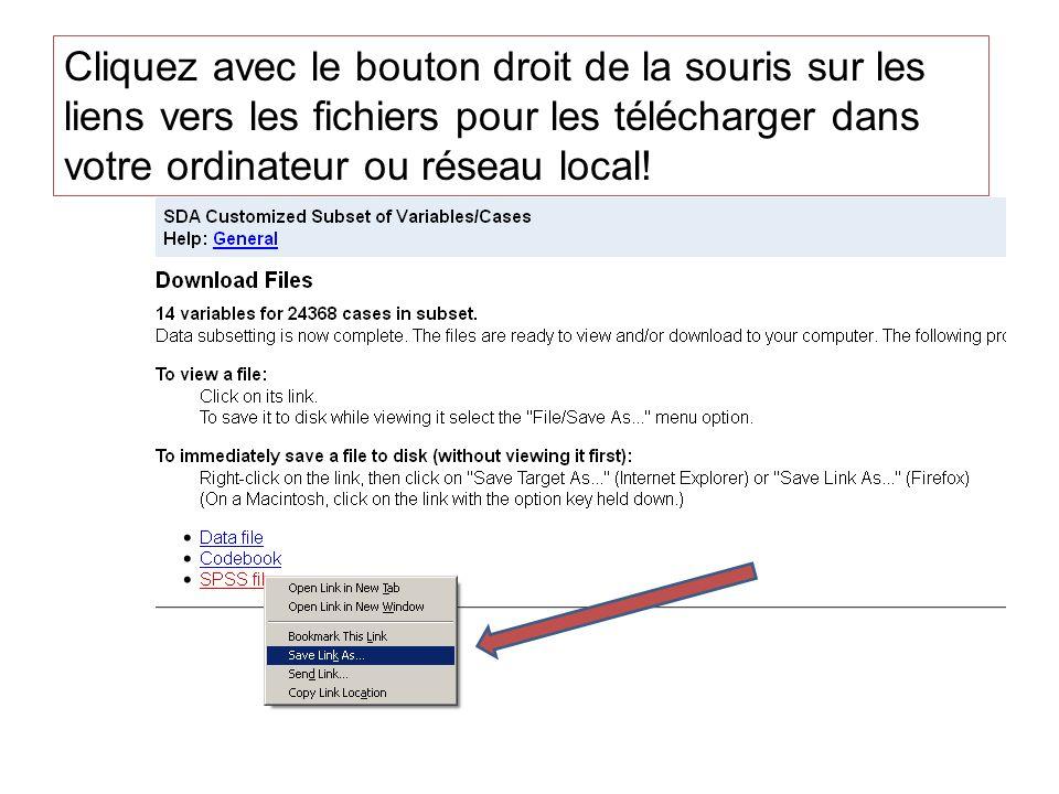 Cliquez avec le bouton droit de la souris sur les liens vers les fichiers pour les télécharger dans votre ordinateur ou réseau local!