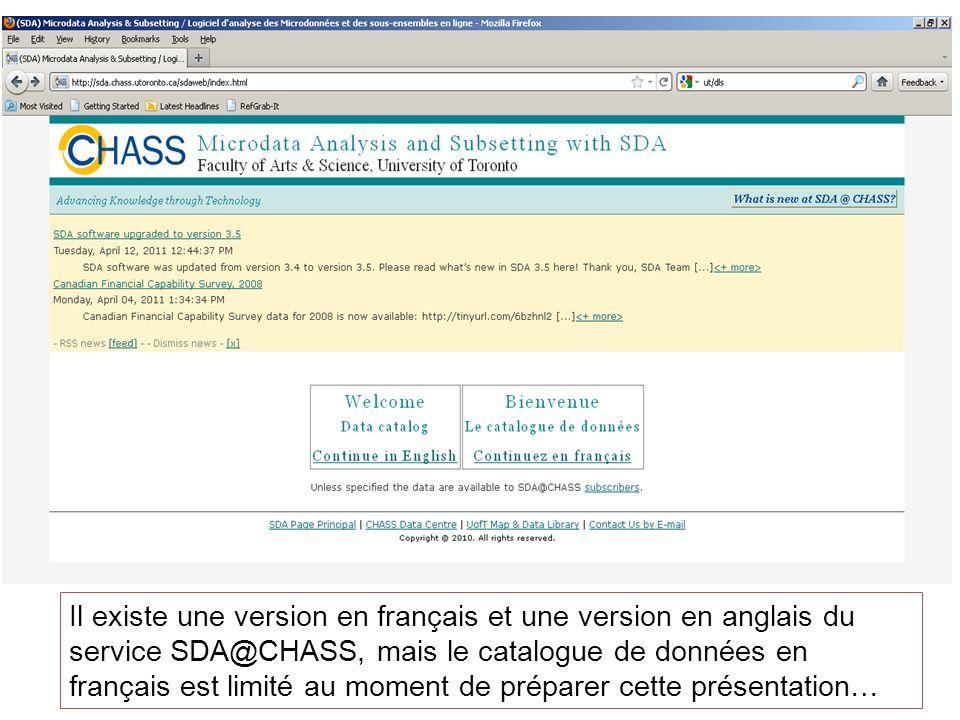 Le catalogue de données en anglais du service SDA@CHASS contient non seulement des ensembles de microdonnées de lIDD, mais aussi des données en libre accès et des données réservées aux utilisateurs de lUniversité de Toronto.