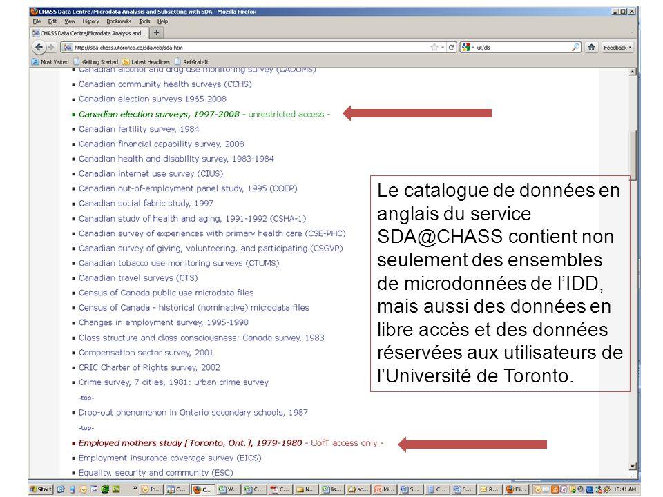 Le catalogue de données en anglais du service SDA@CHASS contient non seulement des ensembles de microdonnées de lIDD, mais aussi des données en libre