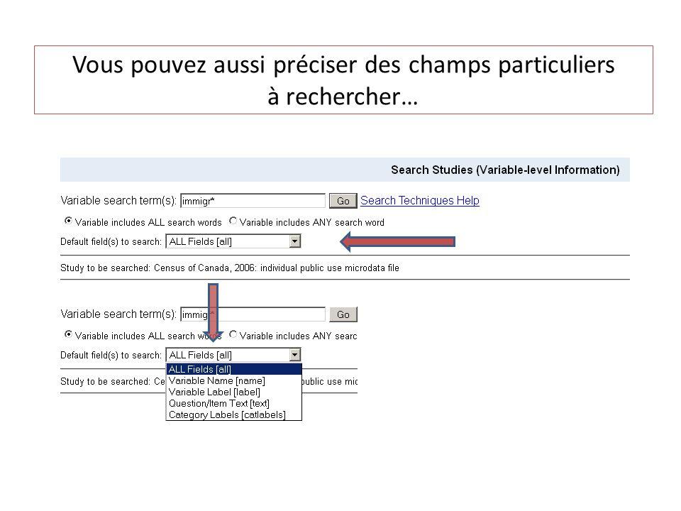 Le bouton View donne la description de la variable du manuel des codes; Le titre Study donne un lien à linterface SDA...