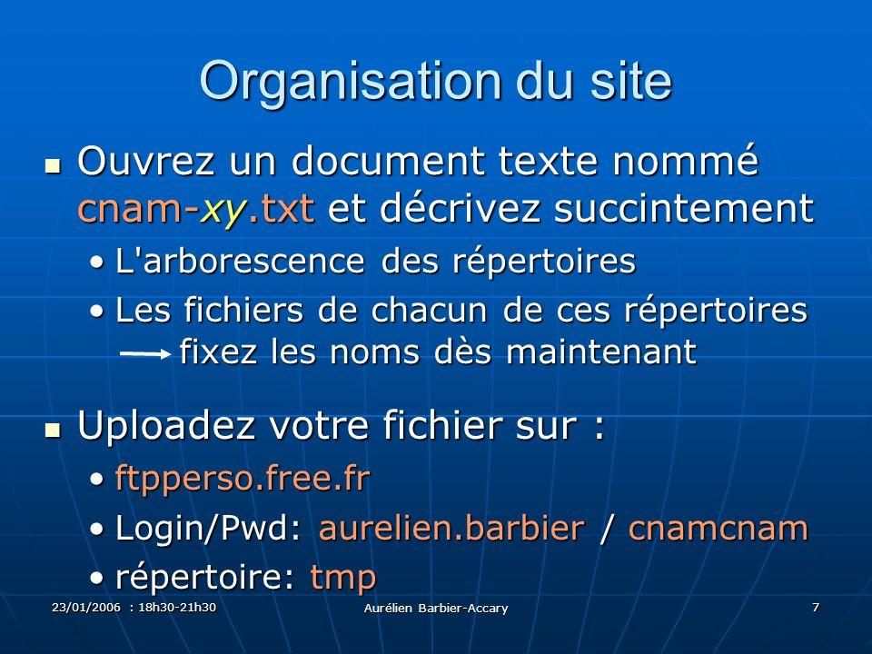 23/01/2006 : 18h30-21h30 Aurélien Barbier-Accary 7 Organisation du site Ouvrez un document texte nommé cnam-xy.txt et décrivez succintement Ouvrez un
