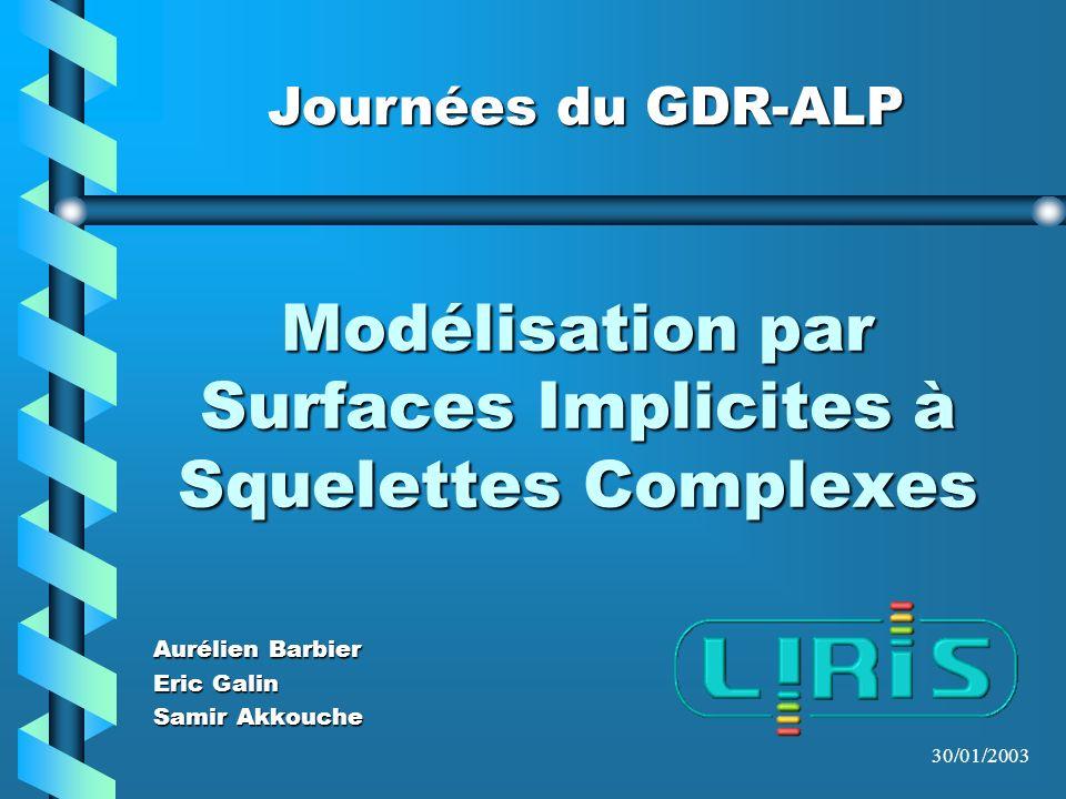 Journées du GDR-ALP 30/01/2003 Modélisation par Surfaces Implicites à Squelettes Complexes Aurélien Barbier Eric Galin Samir Akkouche