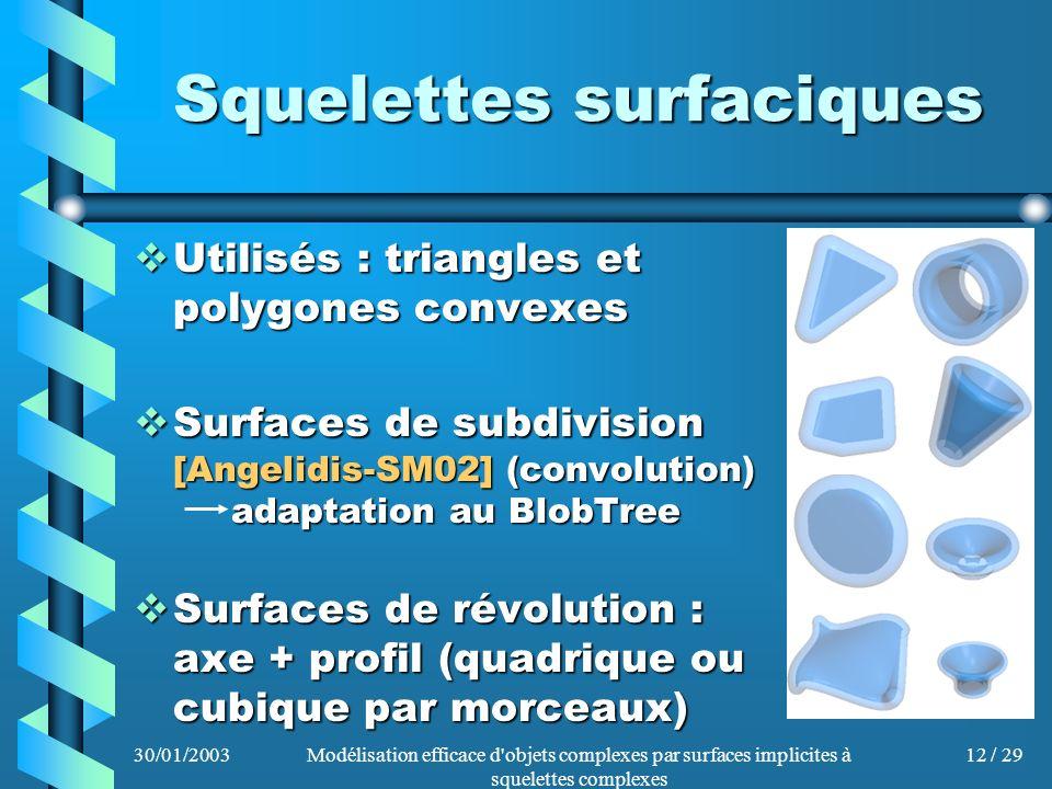 30/01/2003Modélisation efficace d'objets complexes par surfaces implicites à squelettes complexes 12 / 29 Squelettes surfaciques Utilisés : triangles