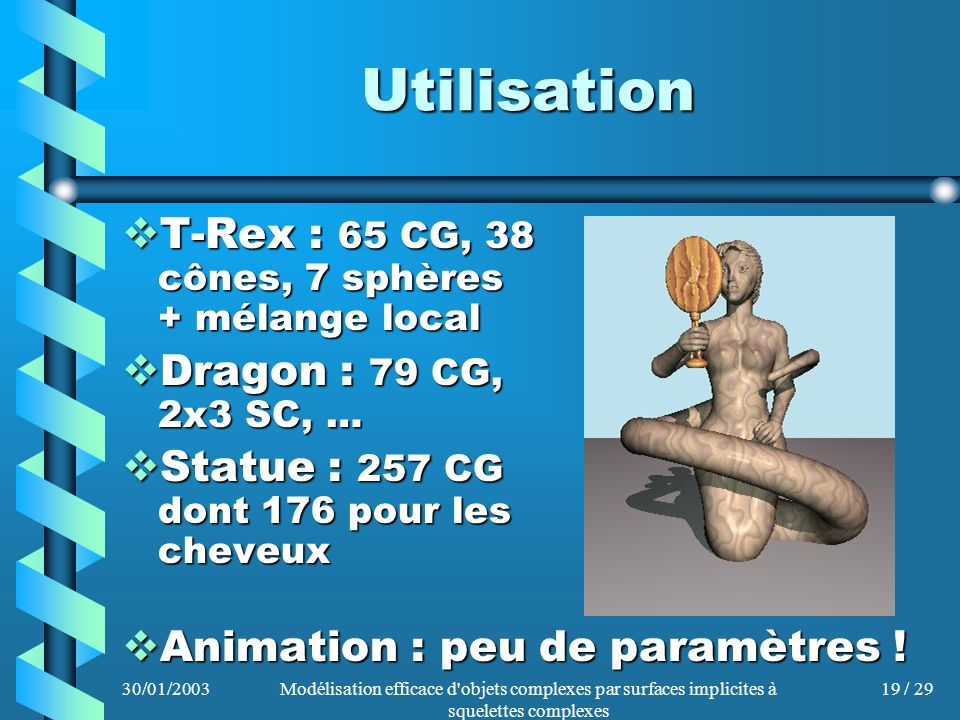30/01/2003Modélisation efficace d'objets complexes par surfaces implicites à squelettes complexes 19 / 29 Utilisation T-Rex : 65 CG, 38 cônes, 7 sphèr