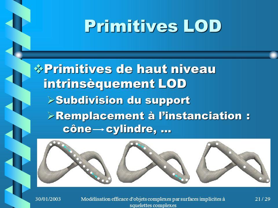 30/01/2003Modélisation efficace d'objets complexes par surfaces implicites à squelettes complexes 21 / 29 Primitives LOD Primitives de haut niveau int