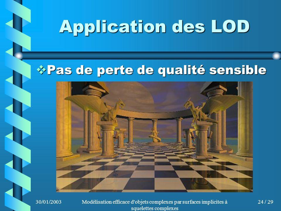 30/01/2003Modélisation efficace d'objets complexes par surfaces implicites à squelettes complexes 24 / 29 Application des LOD Pas de perte de qualité