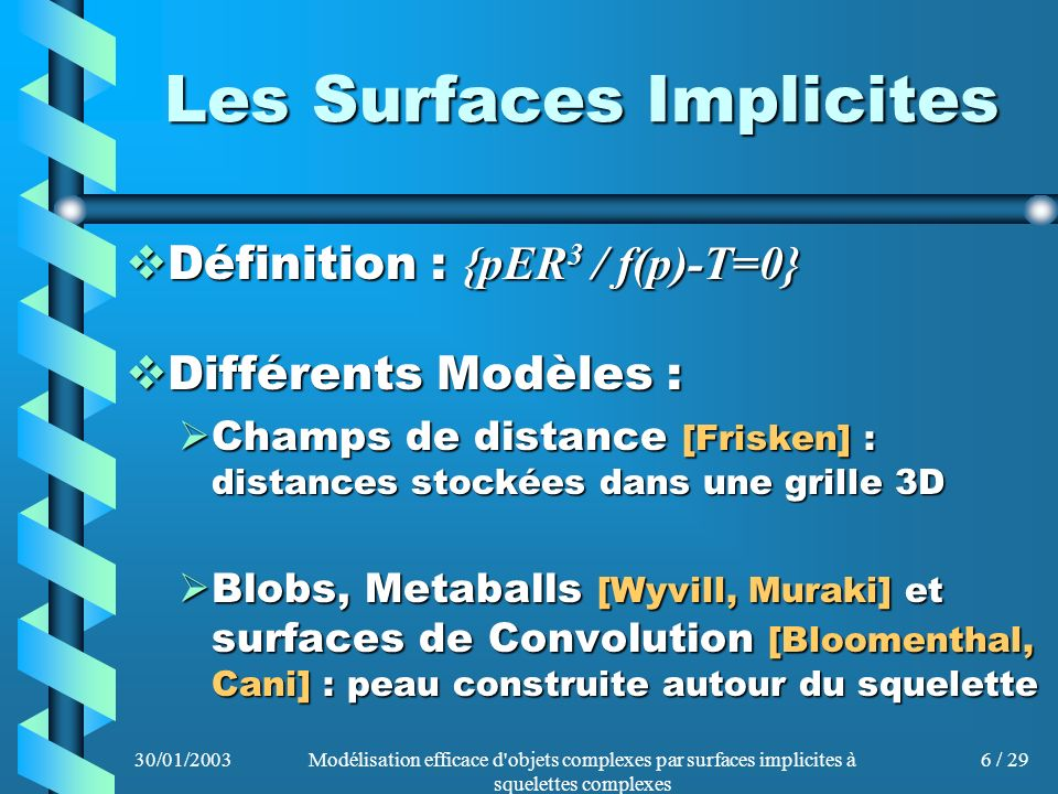 30/01/2003Modélisation efficace d objets complexes par surfaces implicites à squelettes complexes 7 / 29 Modèles hiérarchiques Lutilisation de squelettes est plus intuitive Lutilisation de squelettes est plus intuitive BlobTree [Wyvill,Galin] : alliance de cet avantage, de la CSG et dopérateurs de déformation BlobTree [Wyvill,Galin] : alliance de cet avantage, de la CSG et dopérateurs de déformation F-reps [Pasko] : représentation fonctionnelle moins intuitive F-reps [Pasko] : représentation fonctionnelle moins intuitive