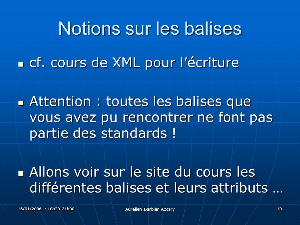 16/01/2006 : 18h30-21h30 Aurélien Barbier-Accary 10 Notions sur les balises cf.