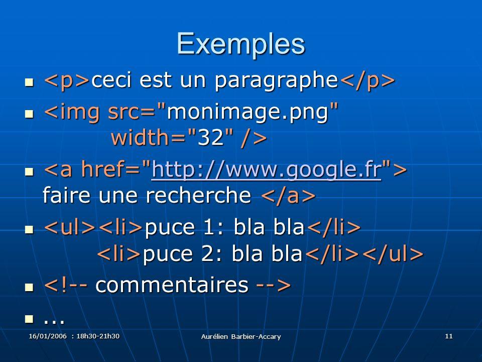 16/01/2006 : 18h30-21h30 Aurélien Barbier-Accary 11 Exemples ceci est un paragraphe ceci est un paragraphe faire une recherche faire une recherche http://www.google.fr puce 1: bla bla puce 2: bla bla puce 1: bla bla puce 2: bla bla......