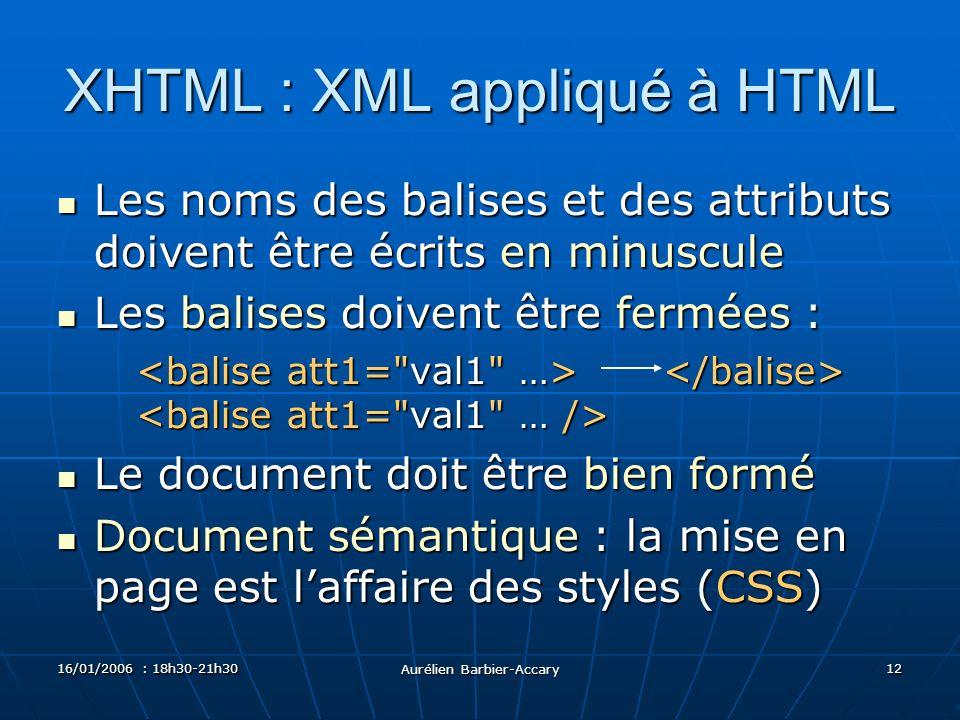16/01/2006 : 18h30-21h30 Aurélien Barbier-Accary 12 XHTML : XML appliqué à HTML Les noms des balises et des attributs doivent être écrits en minuscule Les noms des balises et des attributs doivent être écrits en minuscule Les balises doivent être fermées : Les balises doivent être fermées : Le document doit être bien formé Le document doit être bien formé Document sémantique : la mise en page est laffaire des styles (CSS) Document sémantique : la mise en page est laffaire des styles (CSS)