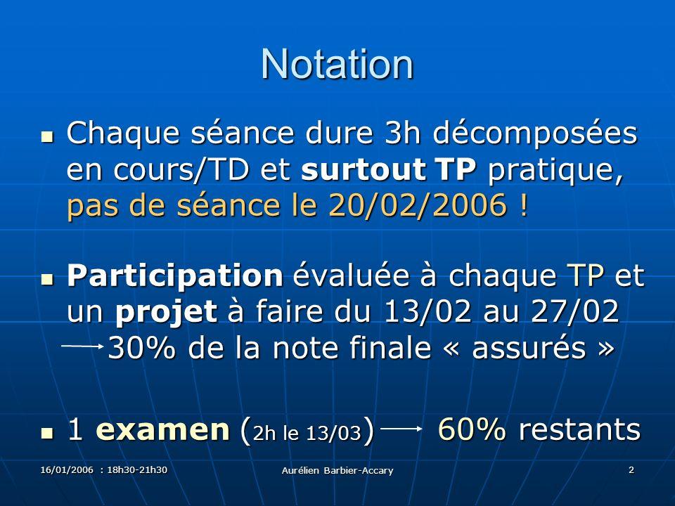 16/01/2006 : 18h30-21h30 Aurélien Barbier-Accary 2 Notation Chaque séance dure 3h décomposées en cours/TD et surtout TP pratique, pas de séance le 20/02/2006 .