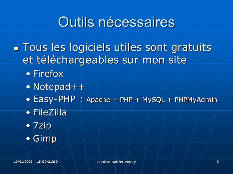16/01/2006 : 18h30-21h30 Aurélien Barbier-Accary 3 Outils nécessaires Tous les logiciels utiles sont gratuits et téléchargeables sur mon site Tous les logiciels utiles sont gratuits et téléchargeables sur mon site FirefoxFirefox Notepad++Notepad++ Easy-PHP : Apache + PHP + MySQL + PHPMyAdminEasy-PHP : Apache + PHP + MySQL + PHPMyAdmin FileZillaFileZilla 7zip7zip GimpGimp