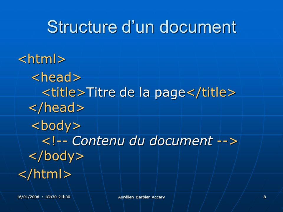 16/01/2006 : 18h30-21h30 Aurélien Barbier-Accary 8 Structure dun document <html> Titre de la page Titre de la page </html>