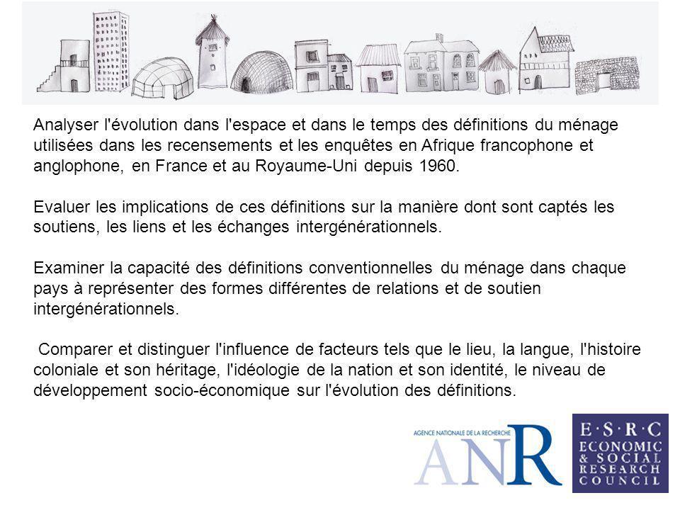 Analyser l évolution dans l espace et dans le temps des définitions du ménage utilisées dans les recensements et les enquêtes en Afrique francophone et anglophone, en France et au Royaume-Uni depuis 1960.