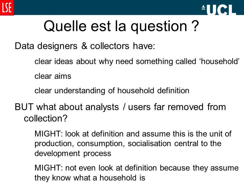 Quelle est la question ? Data designers & collectors have: clear ideas about why need something called household clear aims clear understanding of hou