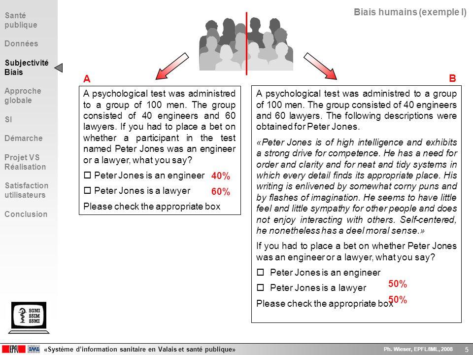 «Système dinformation sanitaire en Valais et santé publique» Ph. Wieser, EPFL/IML, 2008 5 Biais humains (exemple I) A psychological test was administr