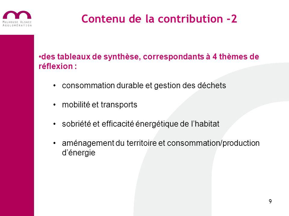 Contenu de la contribution -2 9 des tableaux de synthèse, correspondants à 4 thèmes de réflexion : consommation durable et gestion des déchets mobilité et transports sobriété et efficacité énergétique de lhabitat aménagement du territoire et consommation/production dénergie