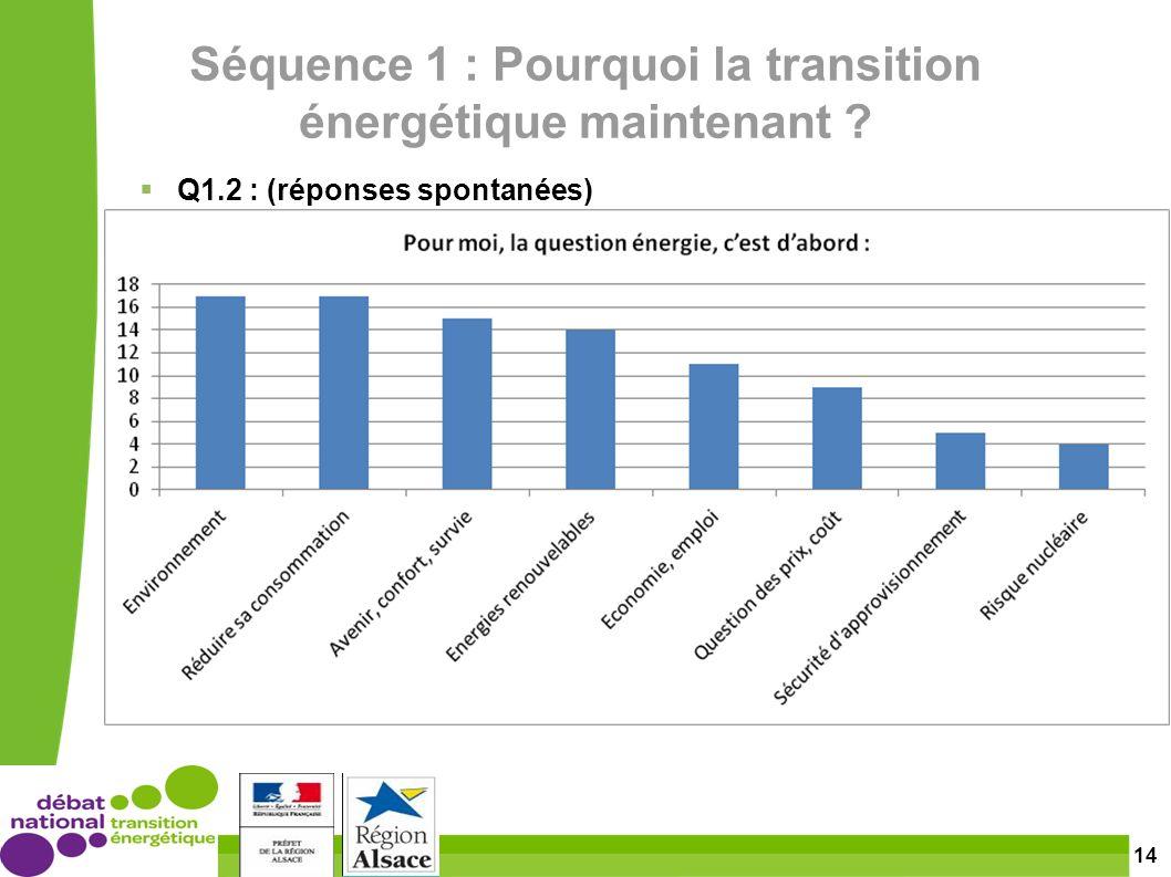 14 Séquence 1 : Pourquoi la transition énergétique maintenant Q1.2 : (réponses spontanées)