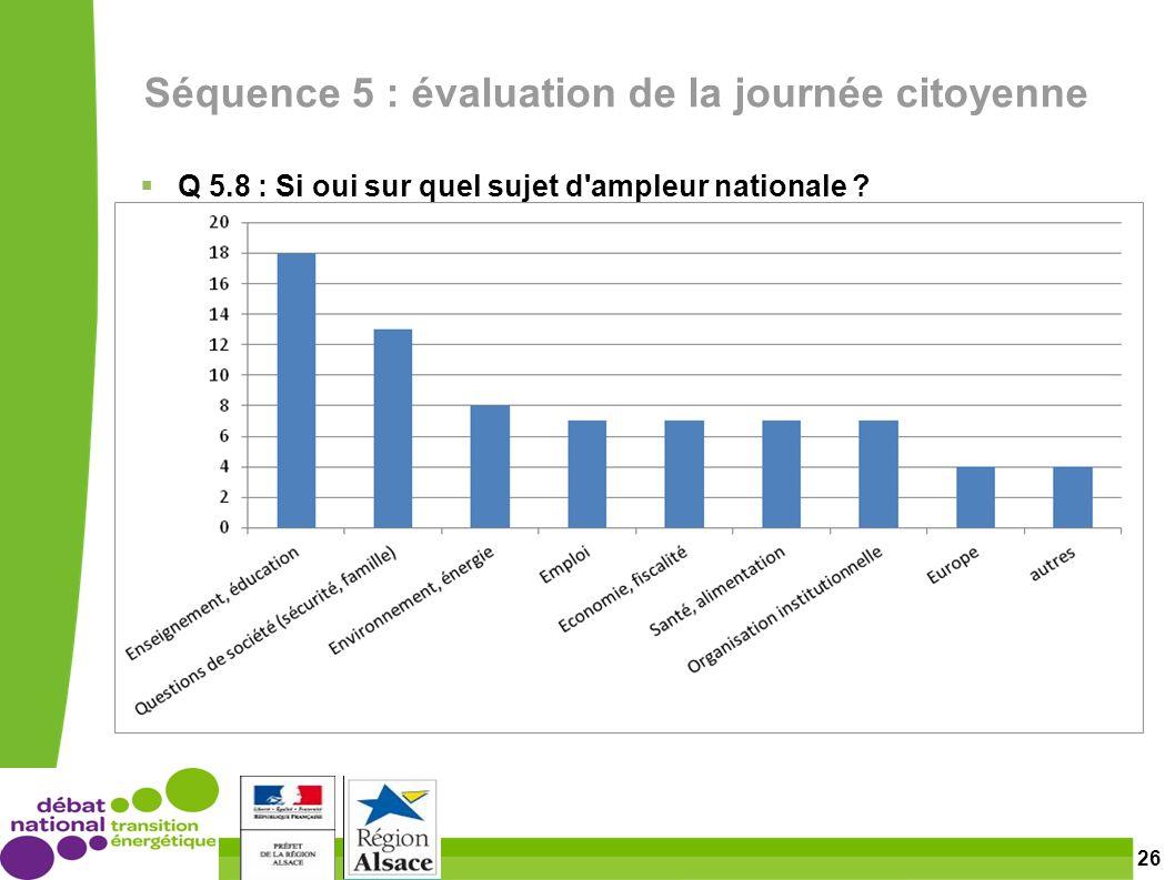 26 Séquence 5 : évaluation de la journée citoyenne Q 5.8 : Si oui sur quel sujet d ampleur nationale
