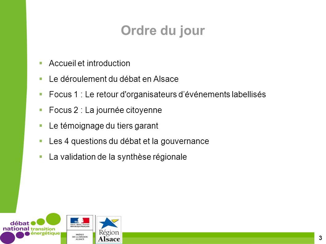 3 Ordre du jour Accueil et introduction Le déroulement du débat en Alsace Focus 1 : Le retour d organisateurs dévénements labellisés Focus 2 : La journée citoyenne Le témoignage du tiers garant Les 4 questions du débat et la gouvernance La validation de la synthèse régionale