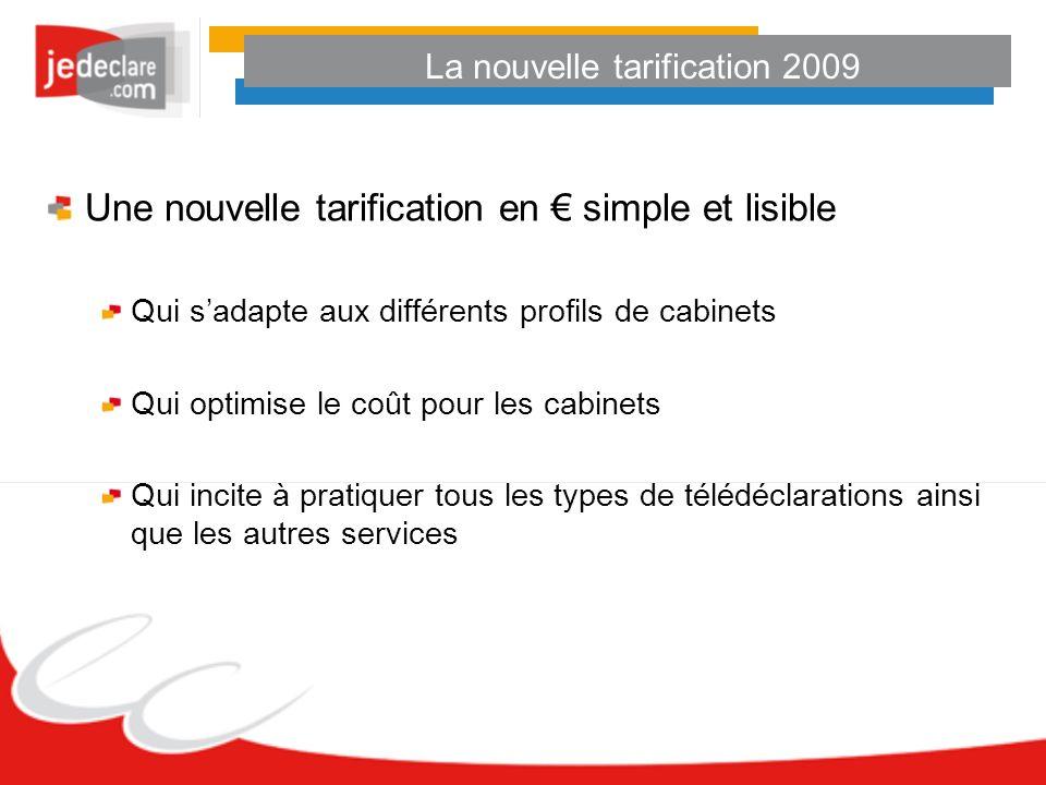 La nouvelle tarification 2009 Le choix : Tarif au dossier Offres Découverte et Essentielle ou Tarif à la télédéclaration Offre Liberté