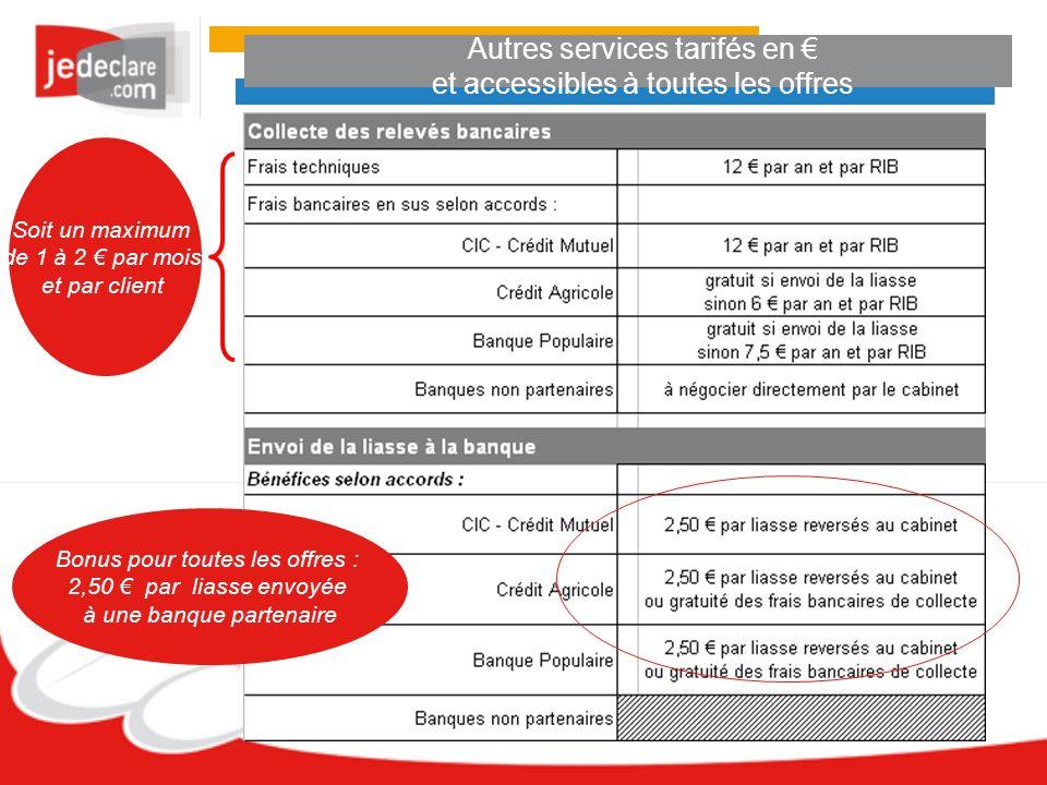 Autres services tarifés en et accessibles à toutes les offres Bonus pour toutes les offres : 2,50 par liasse envoyée à une banque partenaire Soit un maximum de 1 à 2 par mois et par client