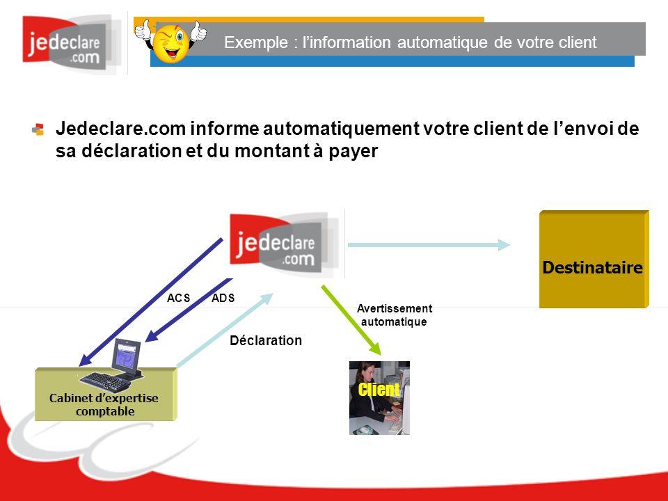 Exemple : linformation automatique de votre client Jedeclare.com informe automatiquement votre client de lenvoi de sa déclaration et du montant à paye