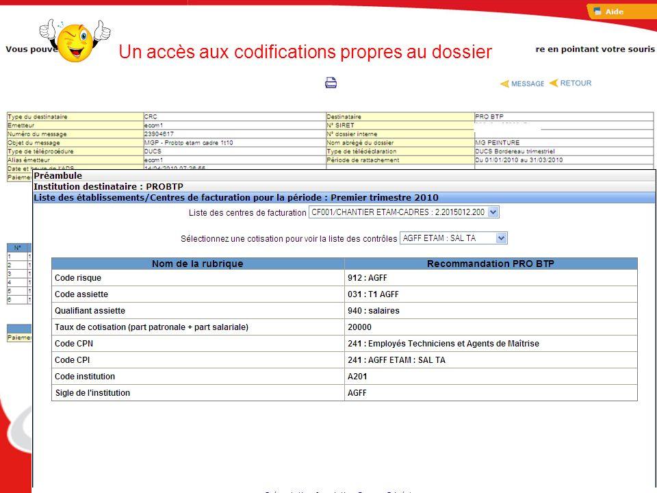 Un accès aux codifications propres au dossier