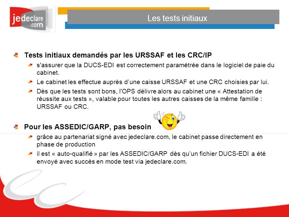 Les tests initiaux Tests initiaux demandés par les URSSAF et les CRC/IP s'assurer que la DUCS-EDI est correctement paramétrée dans le logiciel de paie