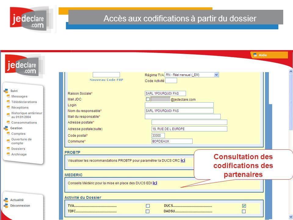 Accès aux codifications à partir du dossier Consultation des codifications des partenaires