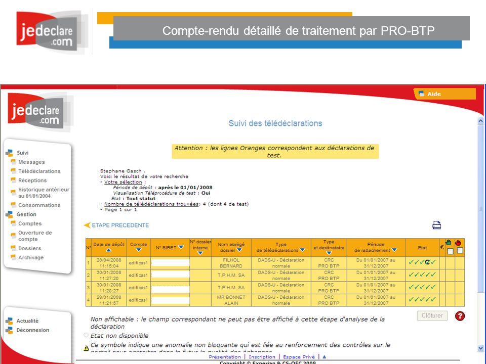 Compte-rendu détaillé de traitement par PRO-BTP