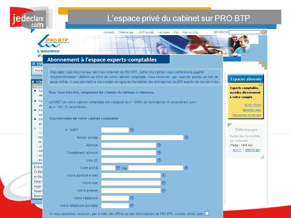Lespace privé du cabinet sur PRO BTP