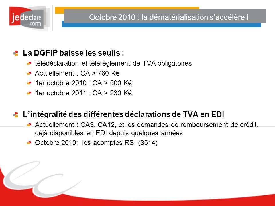 Octobre 2010 : la dématérialisation saccélère ! La DGFiP baisse les seuils : télédéclaration et téléréglement de TVA obligatoires Actuellement : CA >
