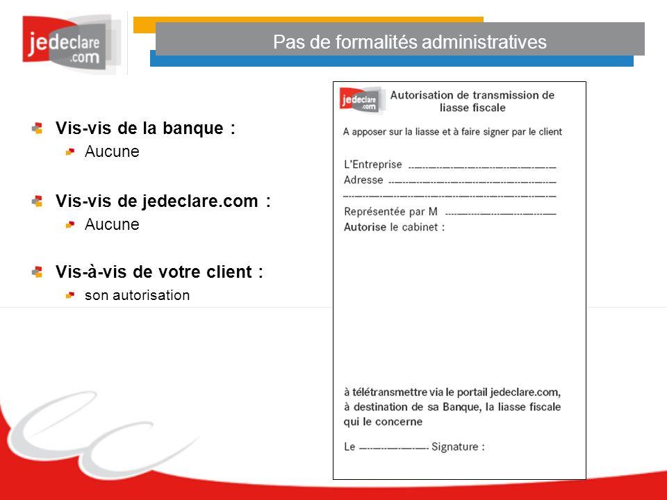 Pas de formalités administratives Vis-vis de la banque : Aucune Vis-vis de jedeclare.com : Aucune Vis-à-vis de votre client : son autorisation