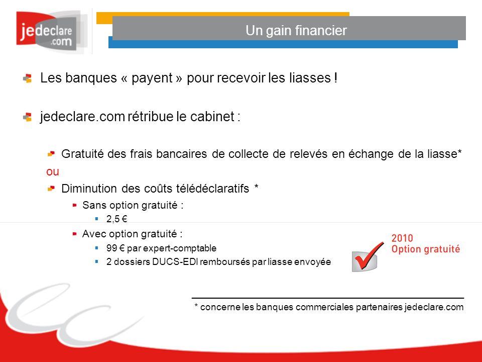 Les banques « payent » pour recevoir les liasses ! jedeclare.com rétribue le cabinet : Gratuité des frais bancaires de collecte de relevés en échange